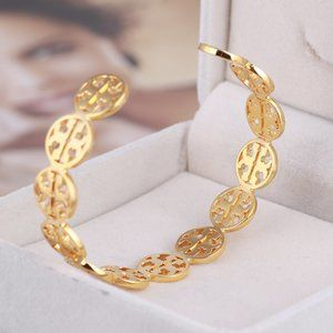 Tory Burch Metal Hollow Logo Fashion Open Bracelet